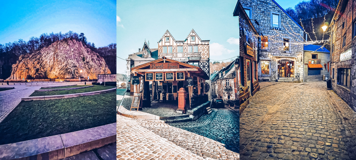 Three images from Durbuy city centre - the first is of the Falize rock, the highest point in Durbuy. The second and third are photos of the old town with cobbled streets and shops, including one advertising street food.