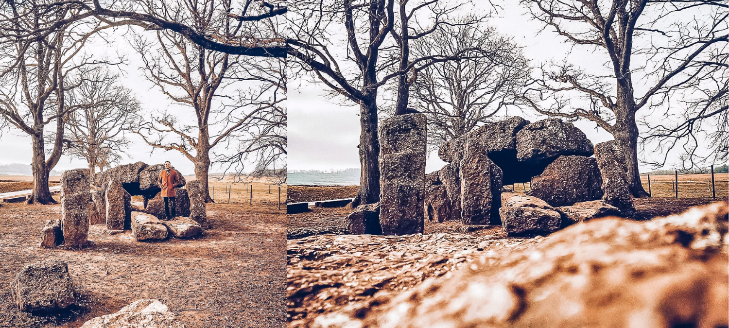 Two images of Dolmen van Weris, an ancient formation of rocks stacked on top of one another. One photo includes a person standing on one of the rocks.