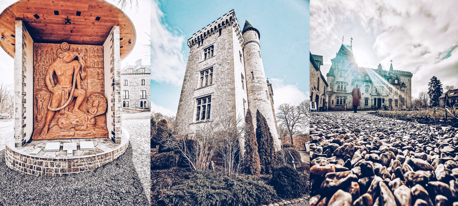 Three photos of the Chateau de Petite Somme, a large grey-bricked building with windows and turrets. One of them has a person posing in front of the chateau.
