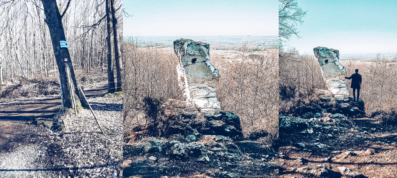 One photo of the path to Pierre Haina and two photos of the rock itself, one includes a man posing with the rock.