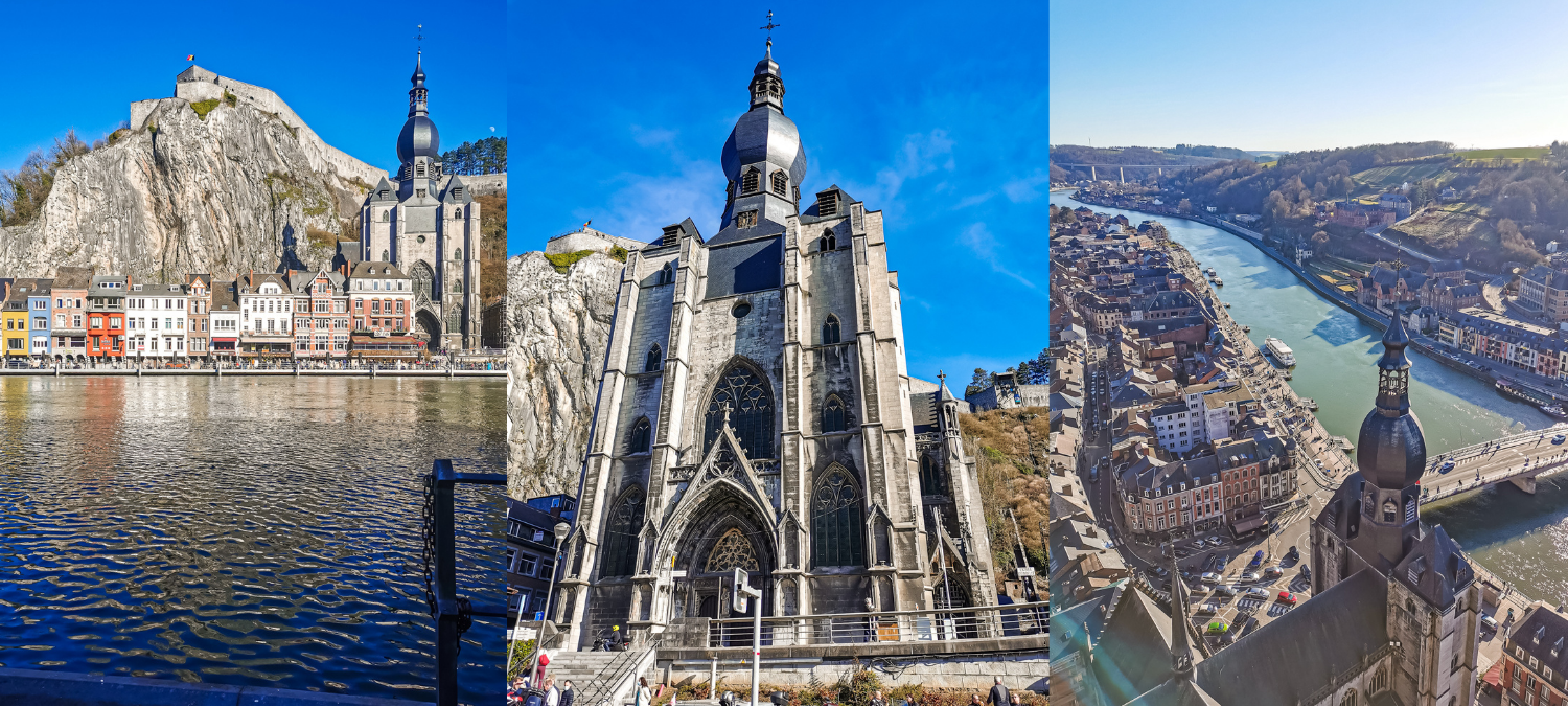 Three pictures of the Citadel of Dinant. One from across the river, one close up and one from above with a view of Dinant