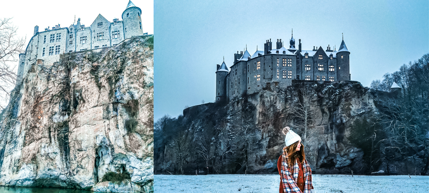 One image of Castle Walzin perched on top of a cliff above a river, and one photo of a girl standing in front of the castle.