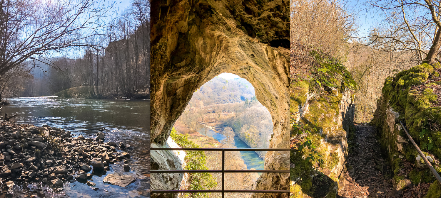 Three images from Park Furfooz. One of a flowing river, one of a view through a rock formation and another of the path.
