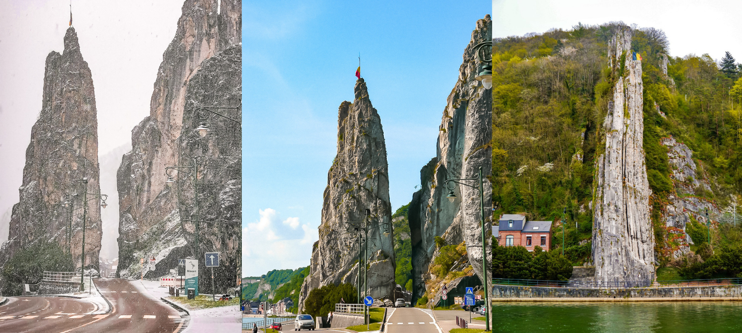 Three images of Rocher Bayard. One of the road travelling through the narrow gap in the rock in winter, one in summer, and one from the side.