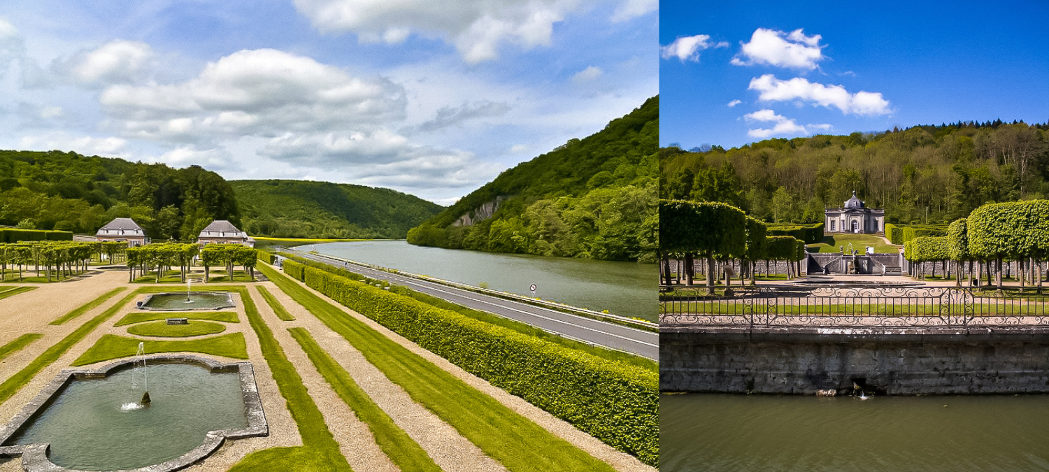 Two images of the gardens at Castle Freyr, in which one you can see the castle in the distance.