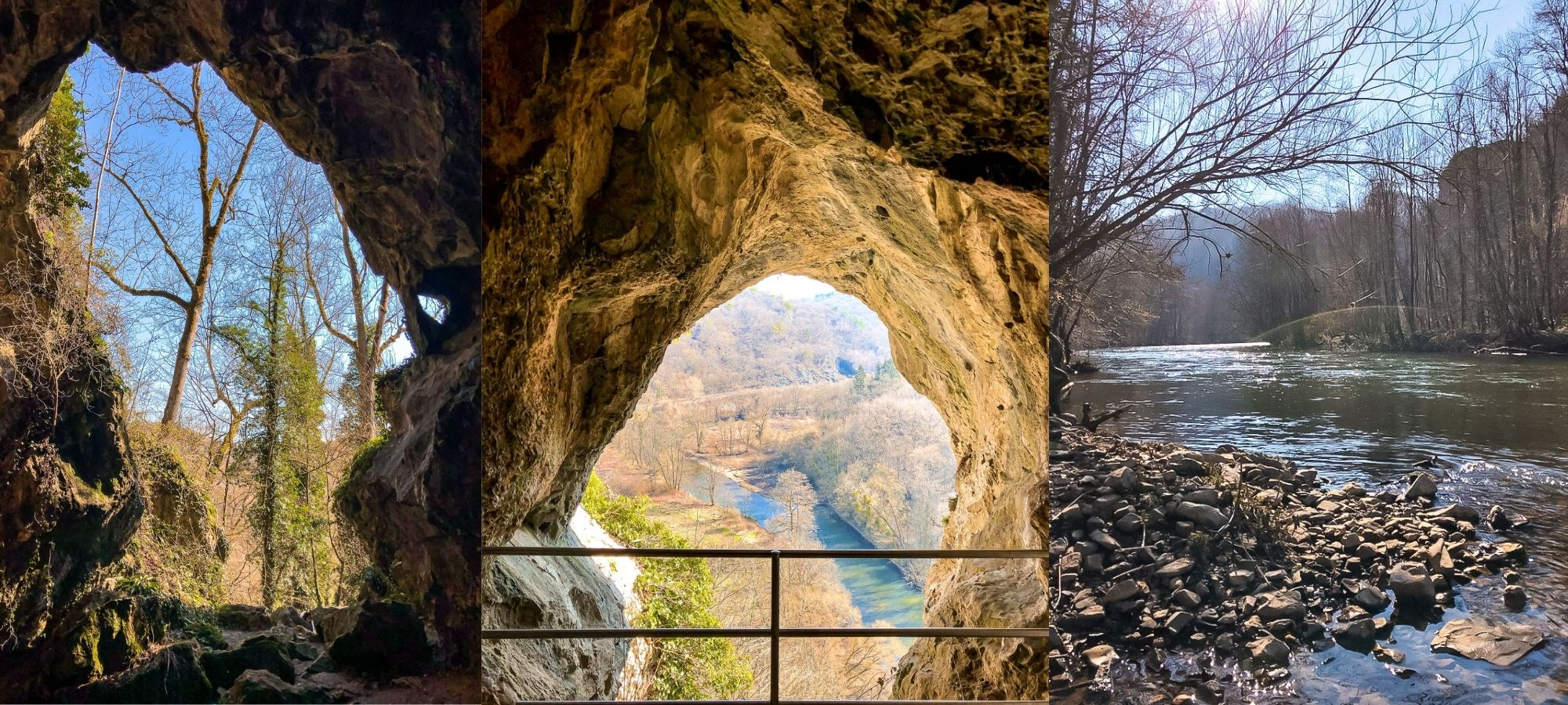Left & Middle: view from the caves of Park Furfooz. Right: rocks in a river.