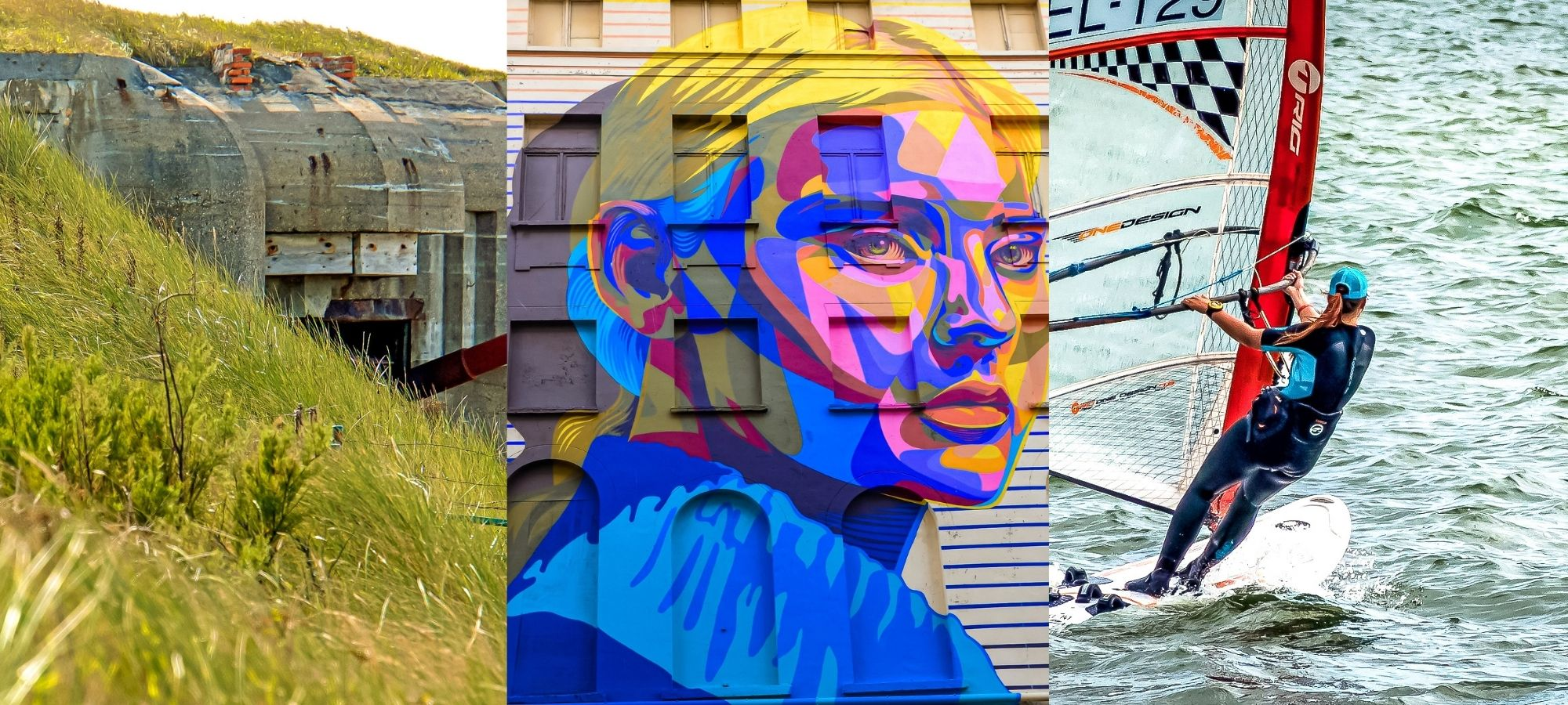 The face of a woman painted onto the side of a building as part of the Crystal Ship street art exhibition in Oostende