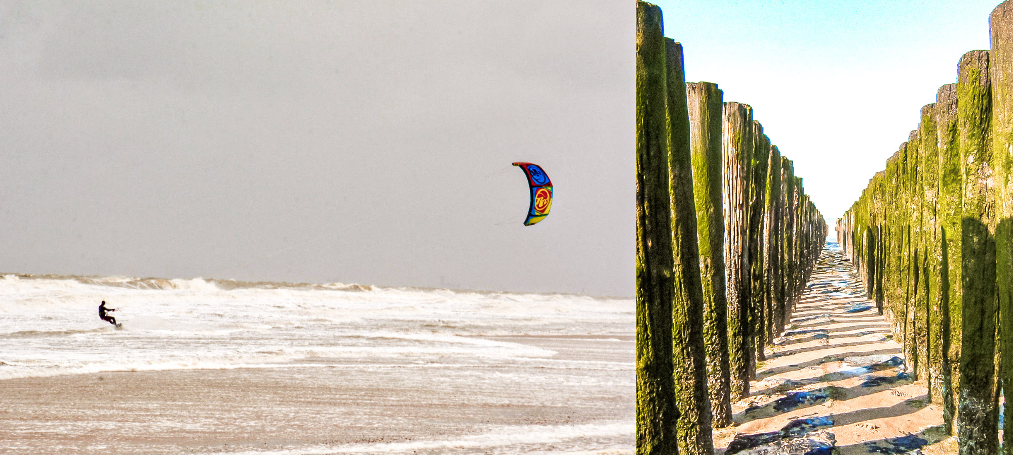 A man kite surfing on the waves in Knokke Heist