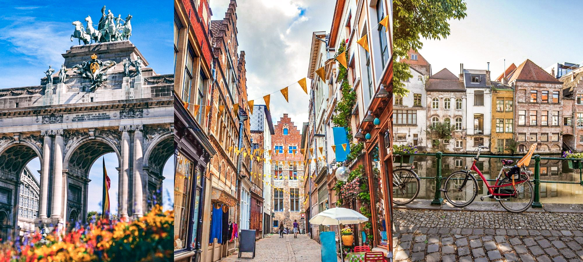 Various attractions in Belgium's city centres including a shopping street