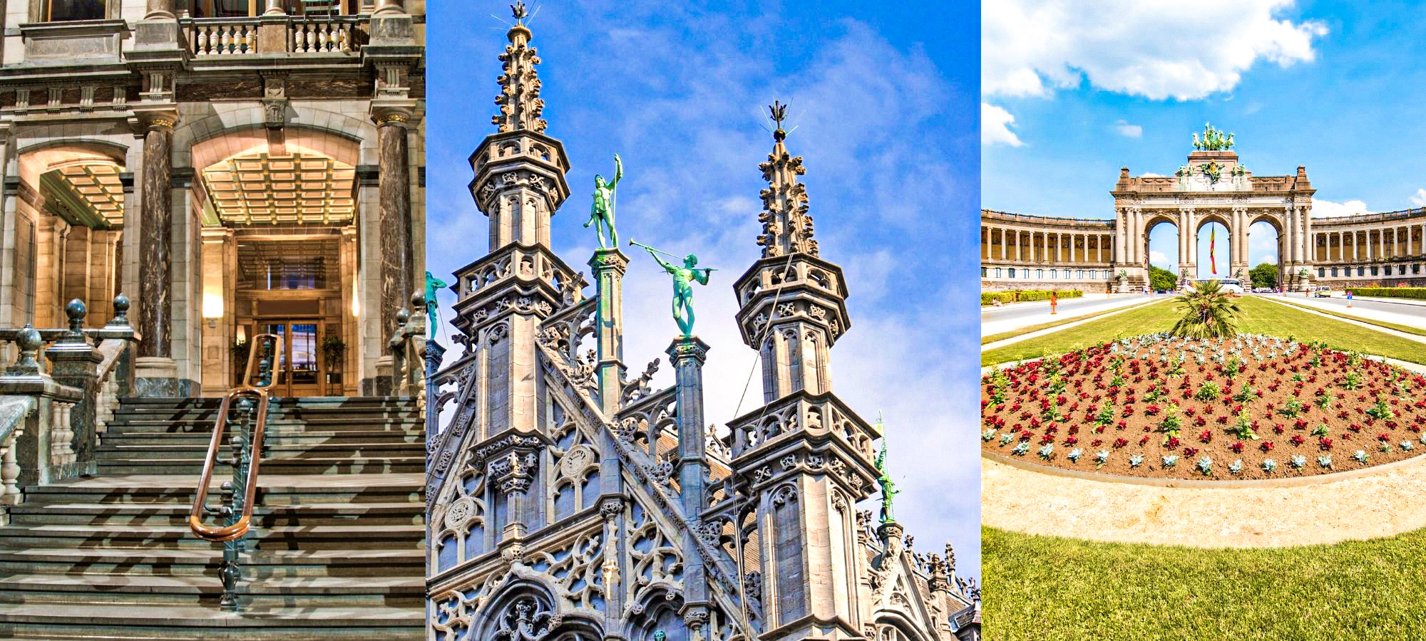 Three historical attractions in Belgium including a church and park in Brussels