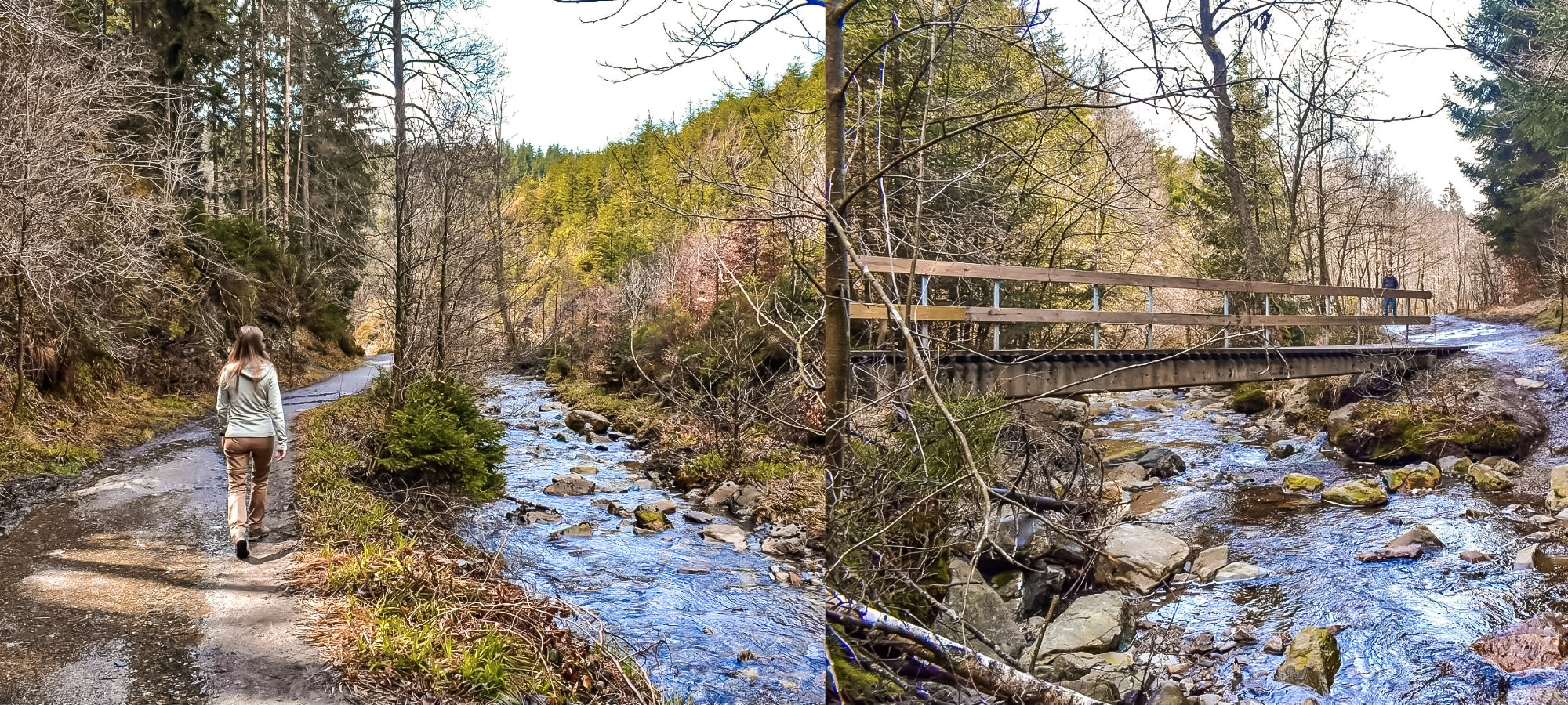 Hikers walking by a a river and bridge on the three valleys ike