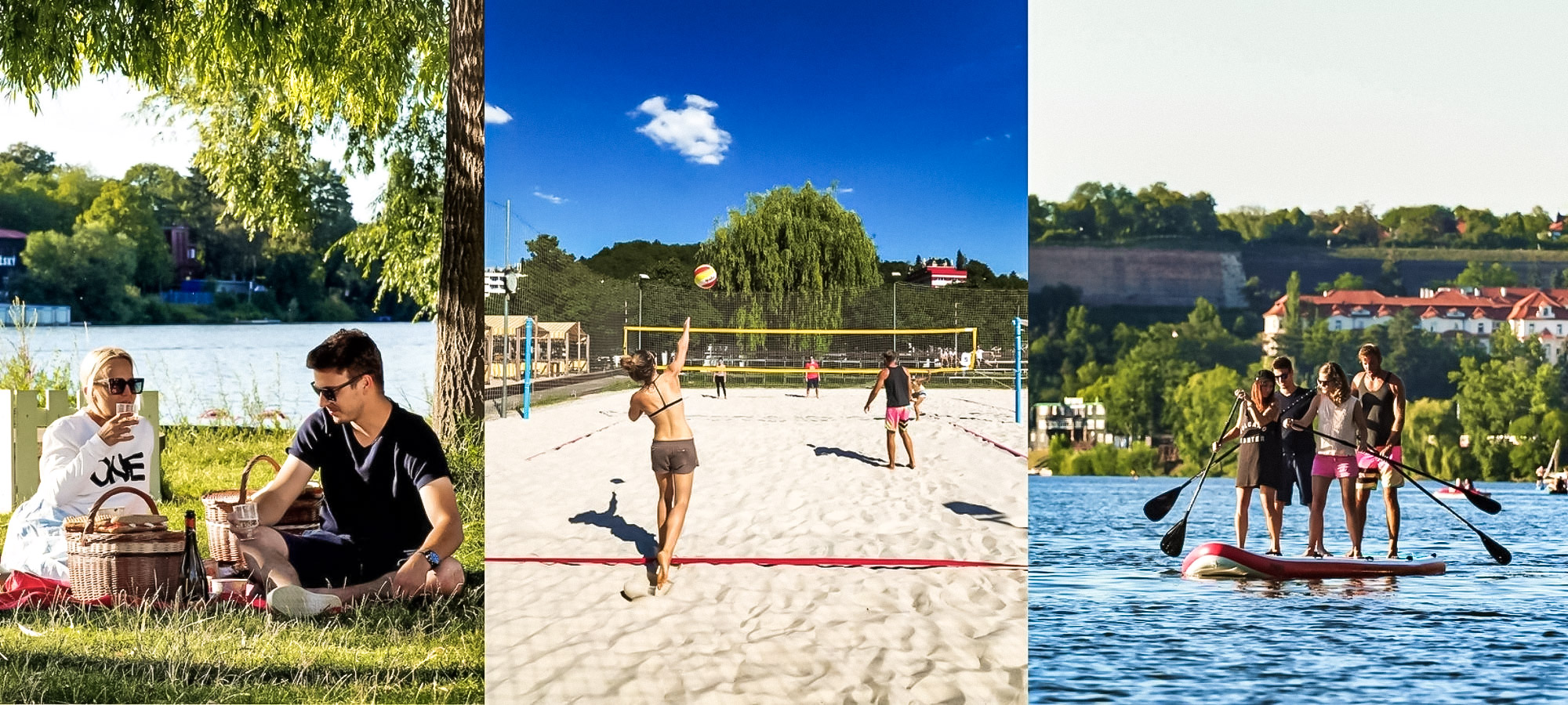 People having a picnic by the river, playing volleyball and standing on a row boat