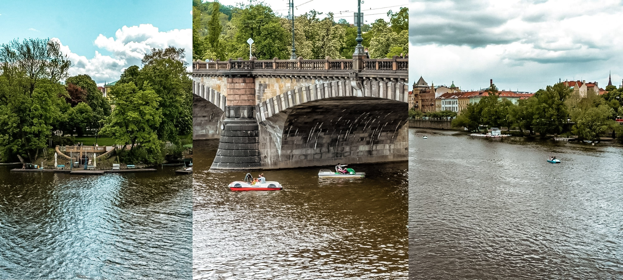 Paddle boats crossing the Vltavariver in Prague, Czech Republic