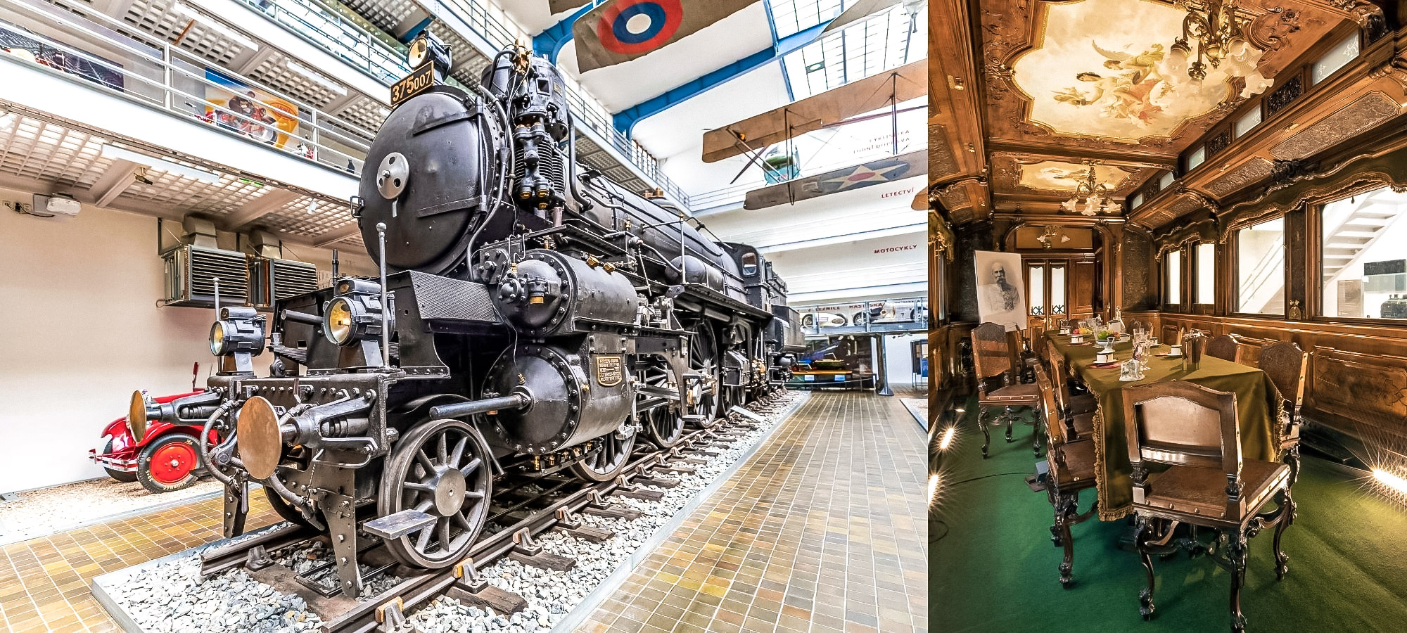 Outside of an old train and its inside at a tech museum in Prague
