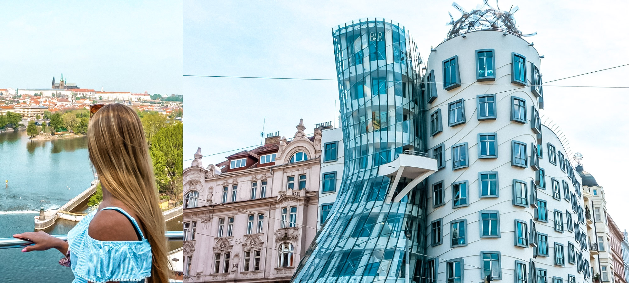 Woman looking at the view from the Dancing House, Prague