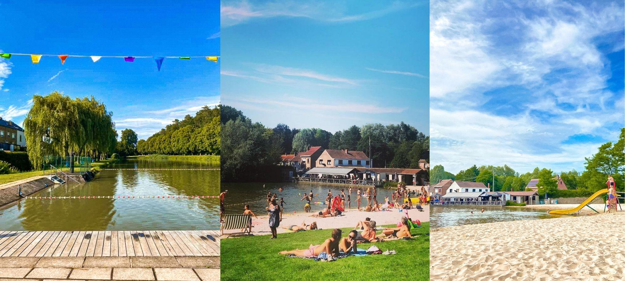 Groups of people sunbathing and swimming at Renipont Beach in Lasne, Belgium