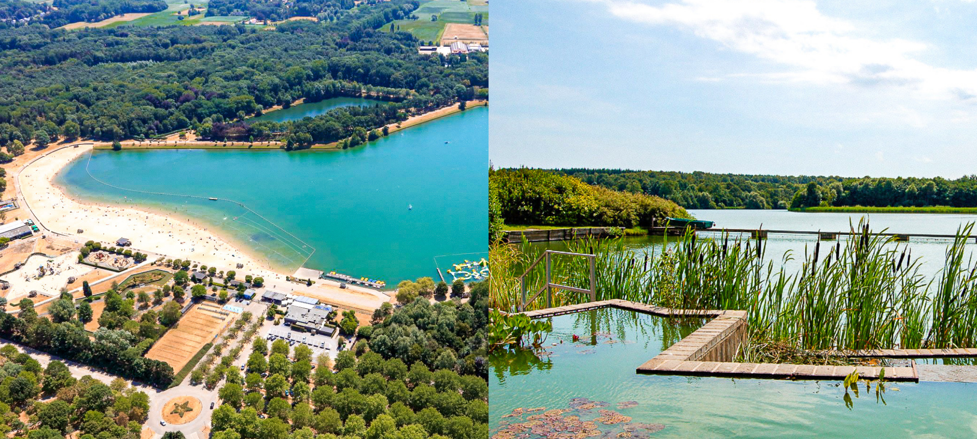 A large blue lake surrounded by trees and a sandy beach at De Ster in Sint Niklaas, Belgium