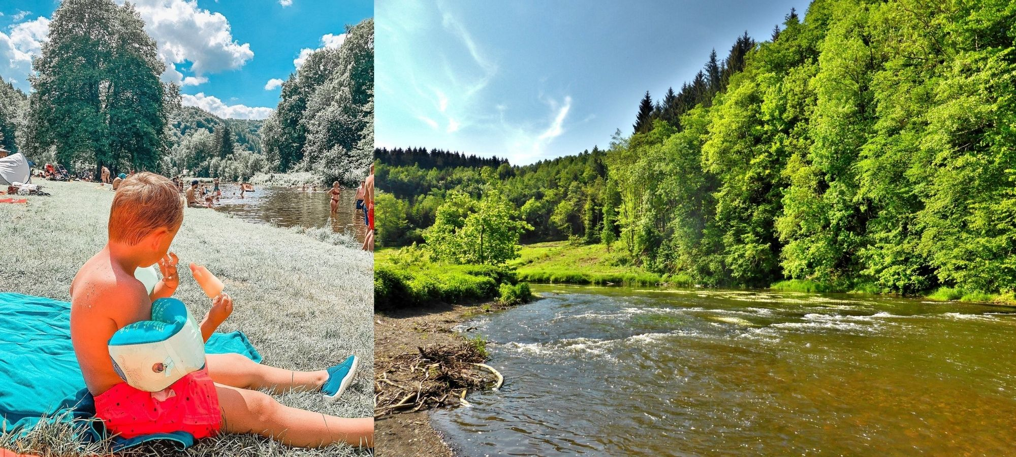 A young boy eating an ice lolly sitting on the banks of Maboge Beach in La Roche-en-Ardenne.
