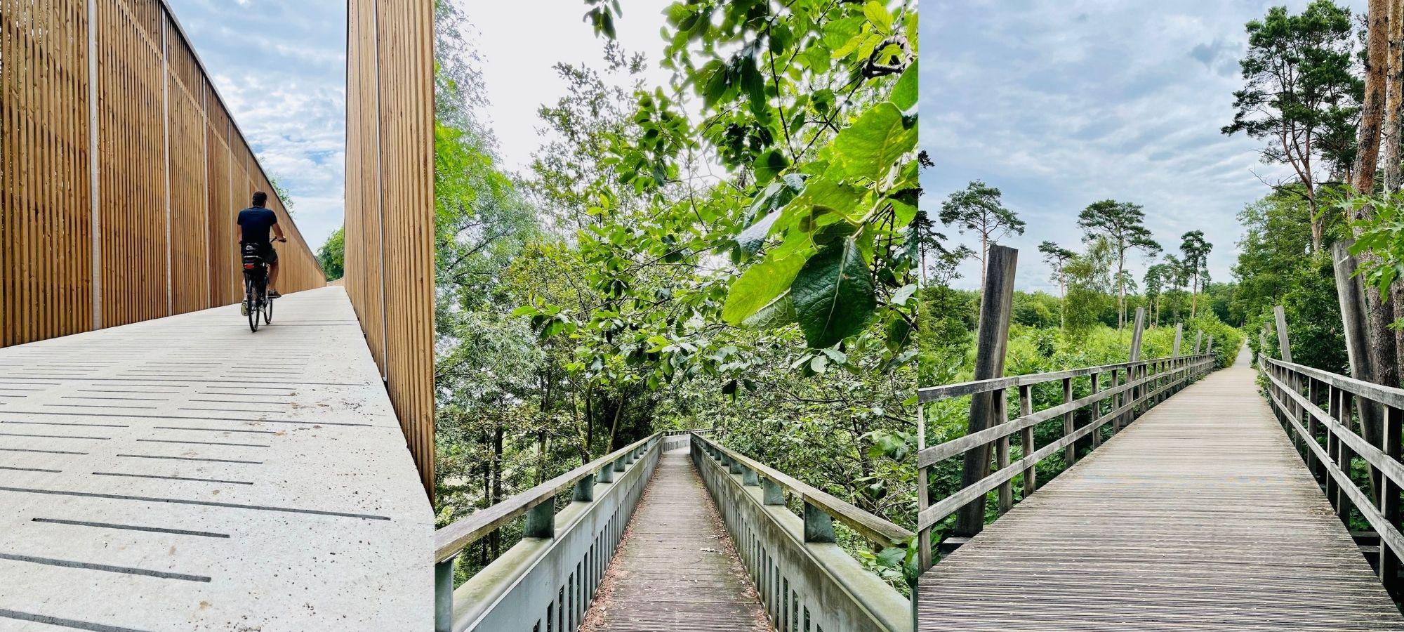Bridges on a cycling route through Hoge Kempen Park, Belgium