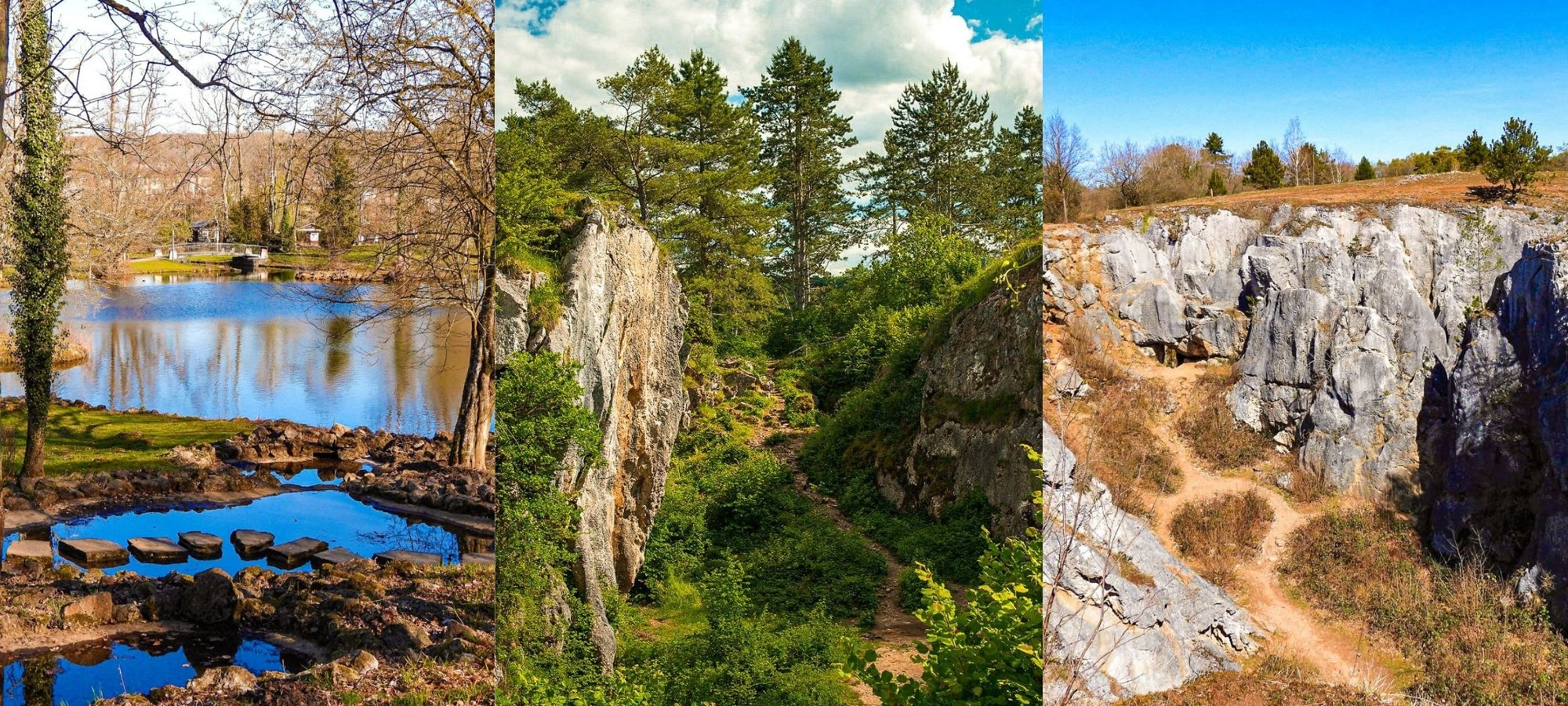 Rocky cliff faces and a lake on the La Roche aux Faucons hike