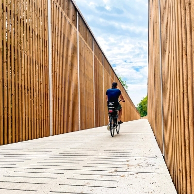 Man cycling on a wooden bridge in a park, Belgium