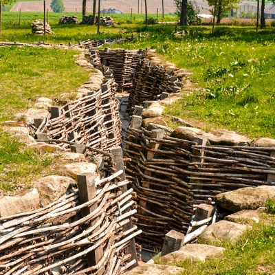 World war trenches near Ypres, Belgium