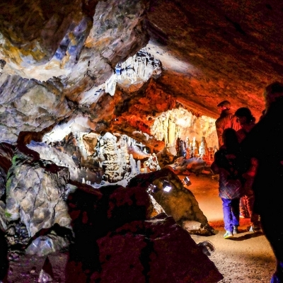 Group touring the caves of Han, Belgium