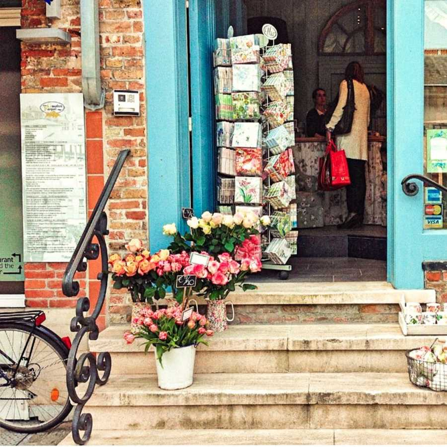 Tulips and a bike outside a shop in Brussels