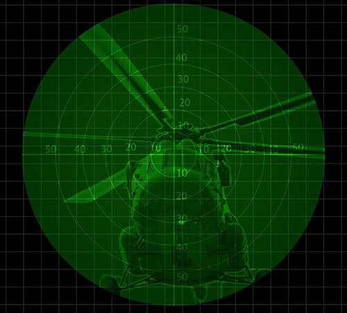 night vision image of helicopter
