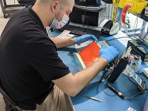 inspecting an lcd on the bench