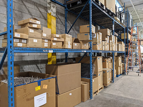 warehouse shelves with boxes