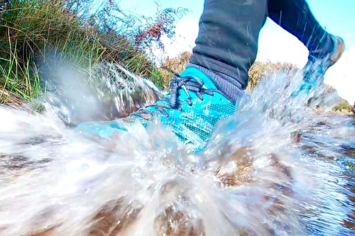 Photograph of a running shoe splashing through a puddle of water