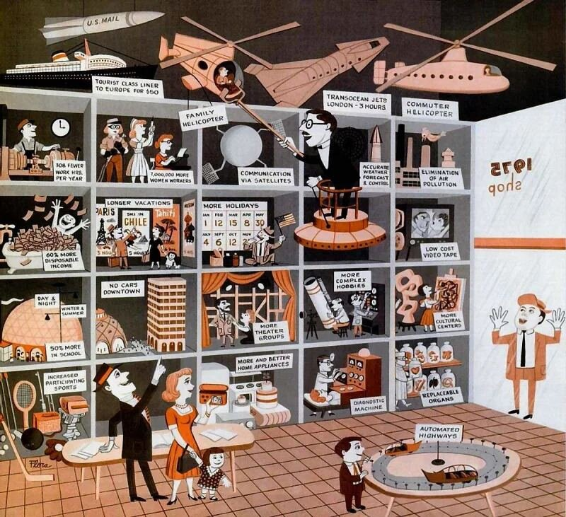A 1959 illustration from Life Magazine that shows the innovations that would change the world by 1975.  (Source: Life Magazine)