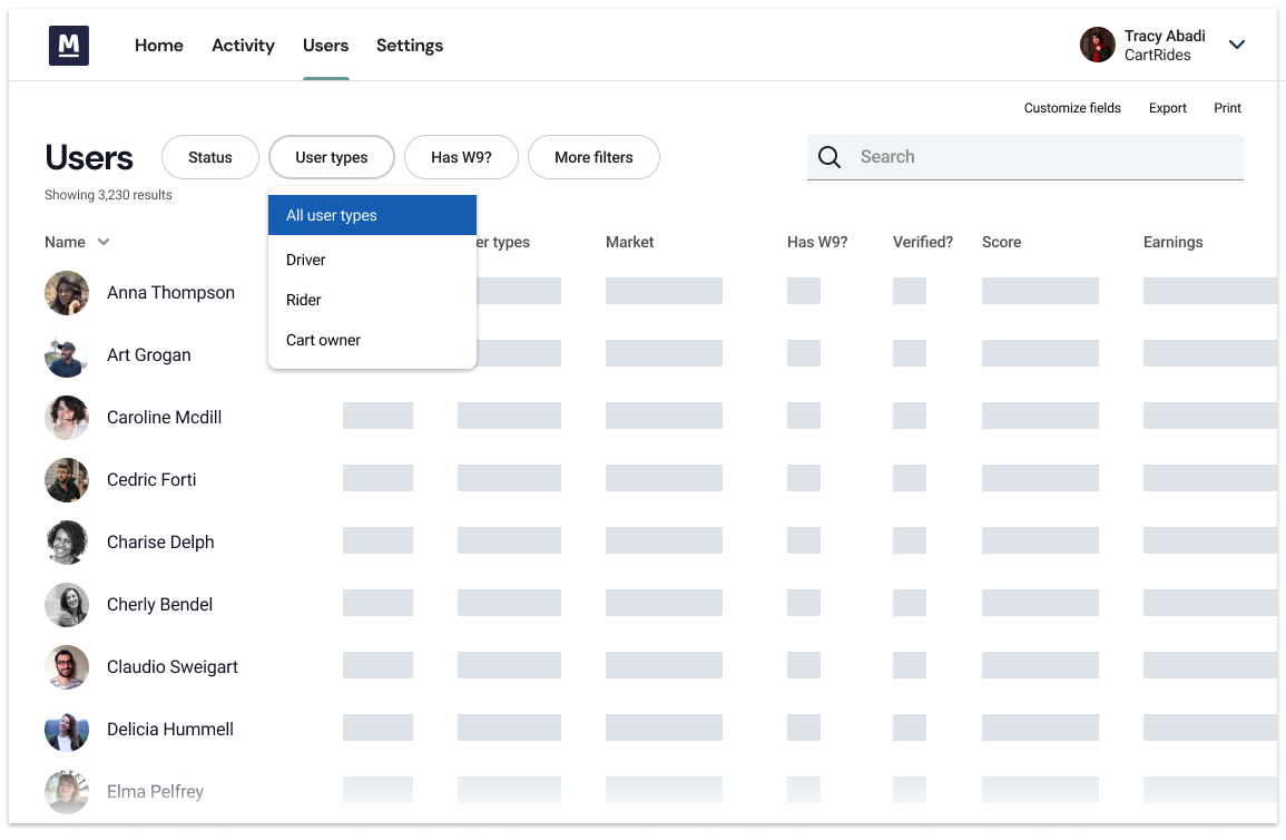 Screenshot of our CRM for marketplaces