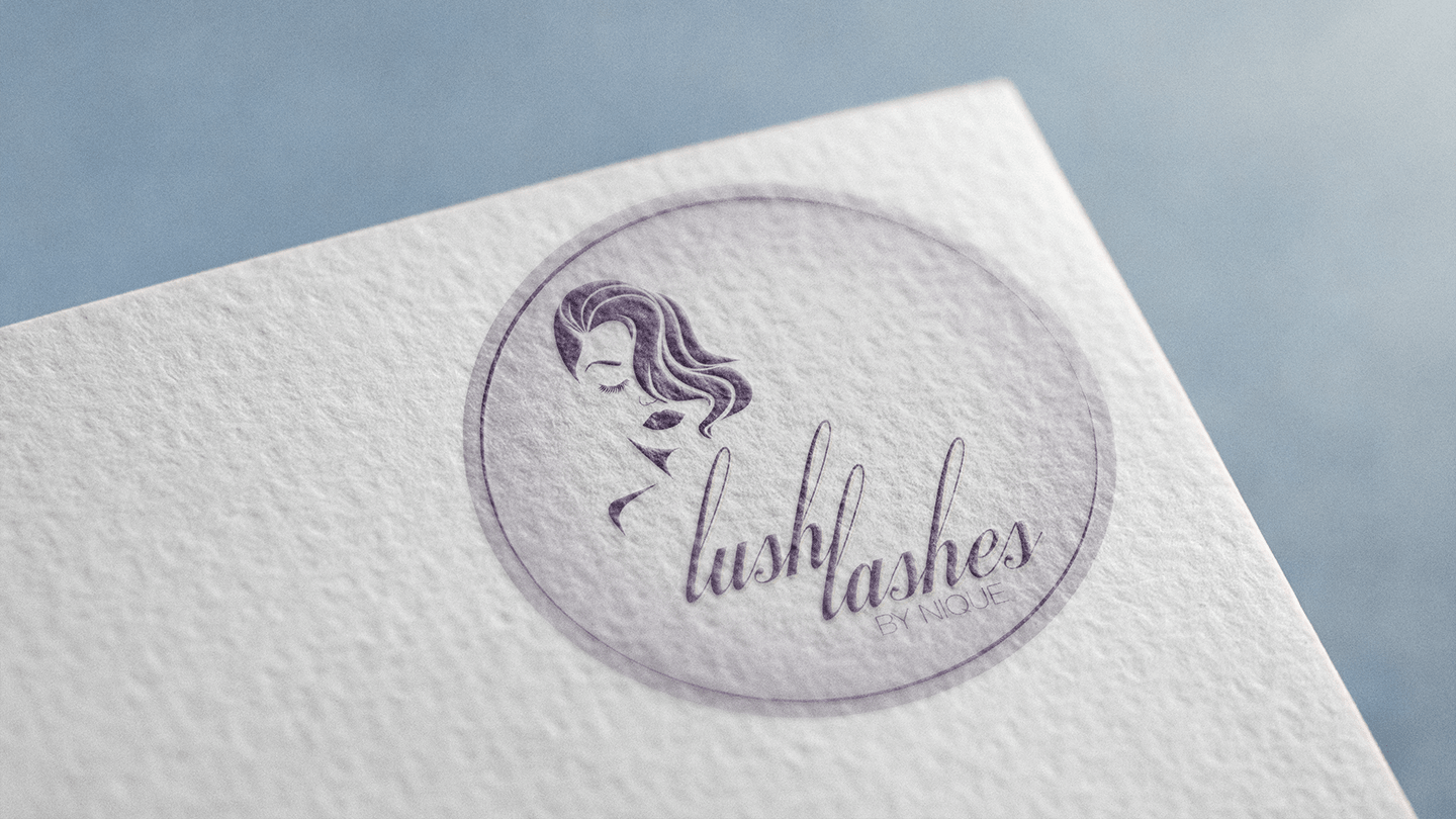 Lush lashes logo design