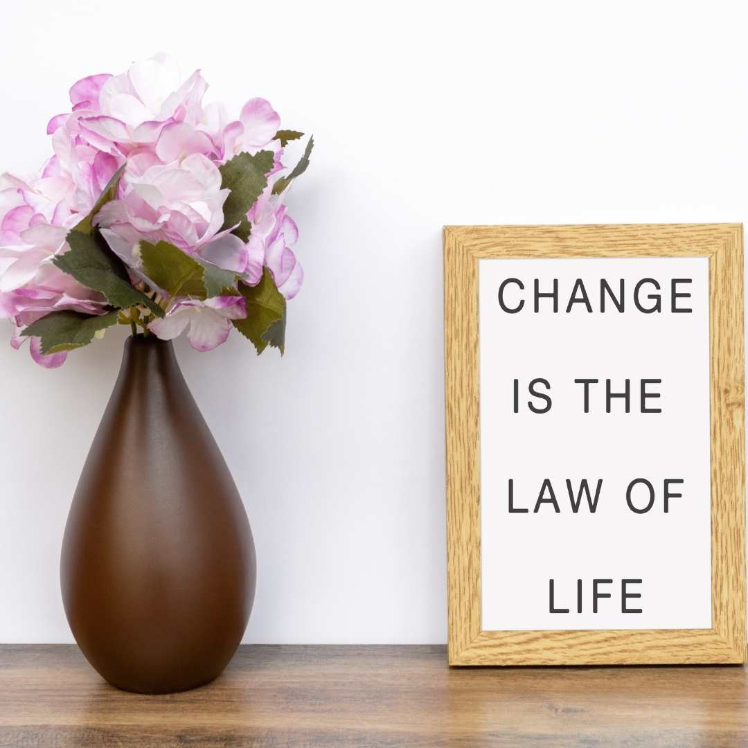 Change is the law of life motivational sign beside flower pot