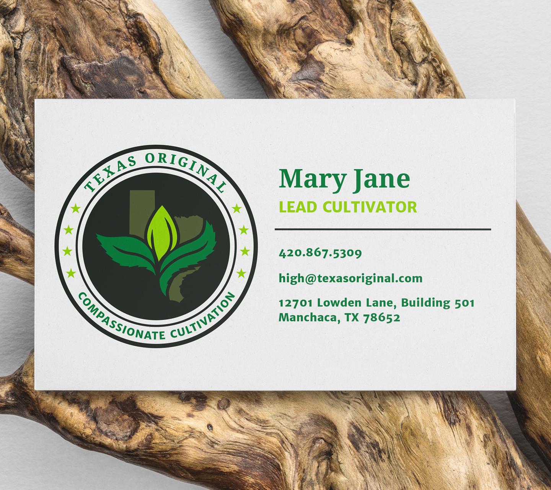 Texas Original Cannabis Company Business Card Design by High Road Design Studio