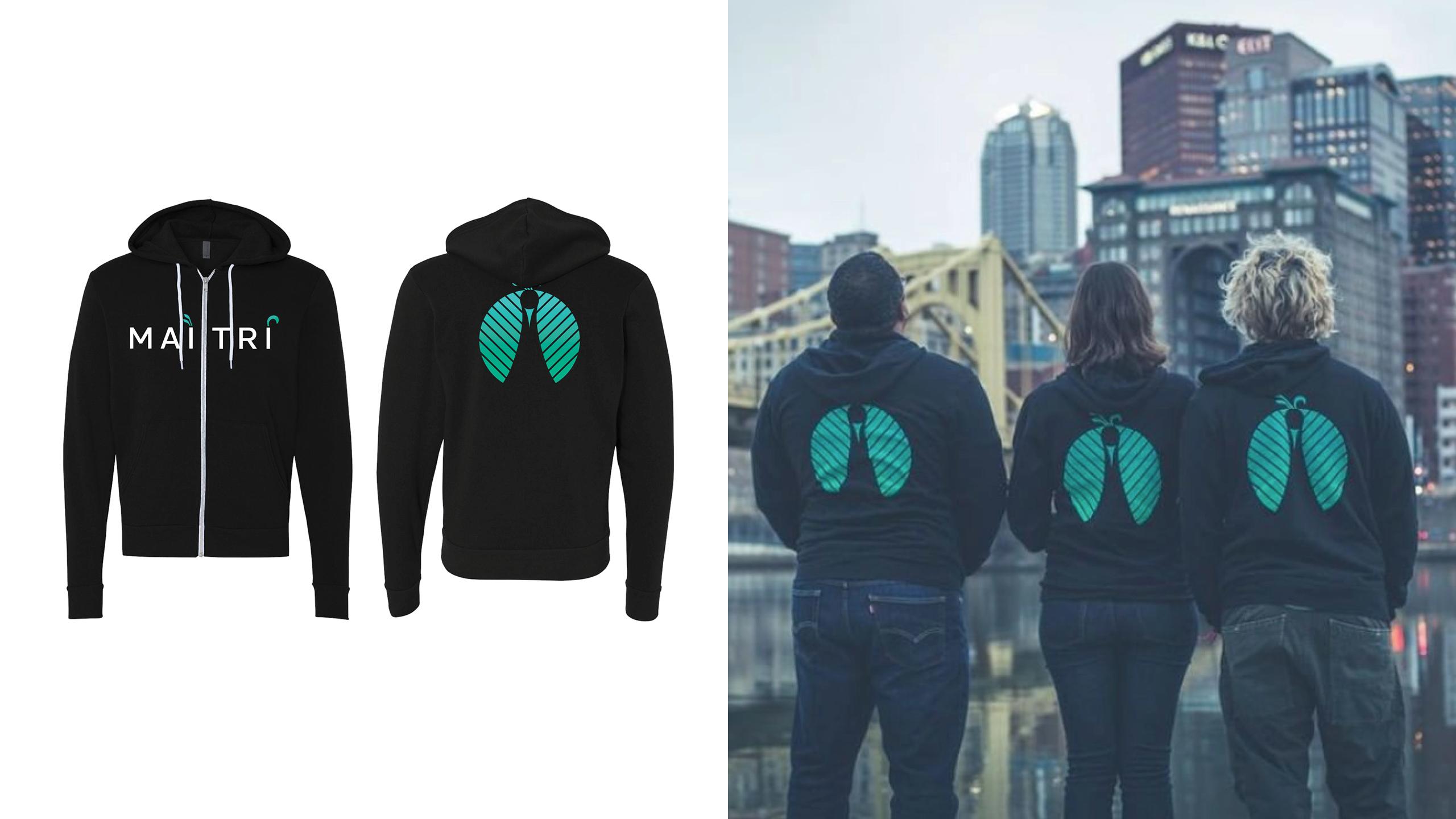 Maitri Medicinals Custom Sweatshirts by High Road Design Studio