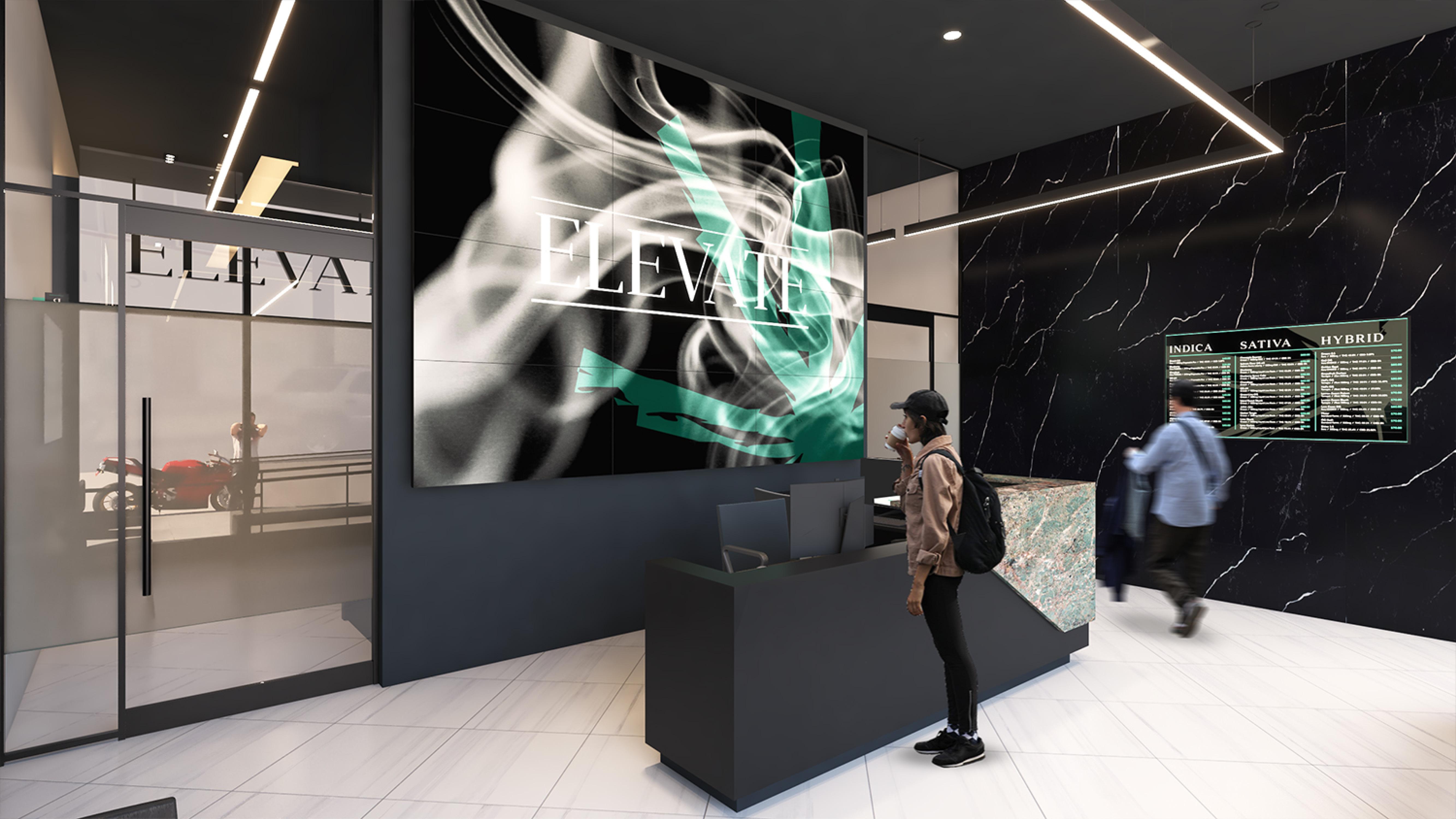 Elevate Dispensary in Oxnard CA. Interior Dispensary Design by High Road Studio, coming soon.