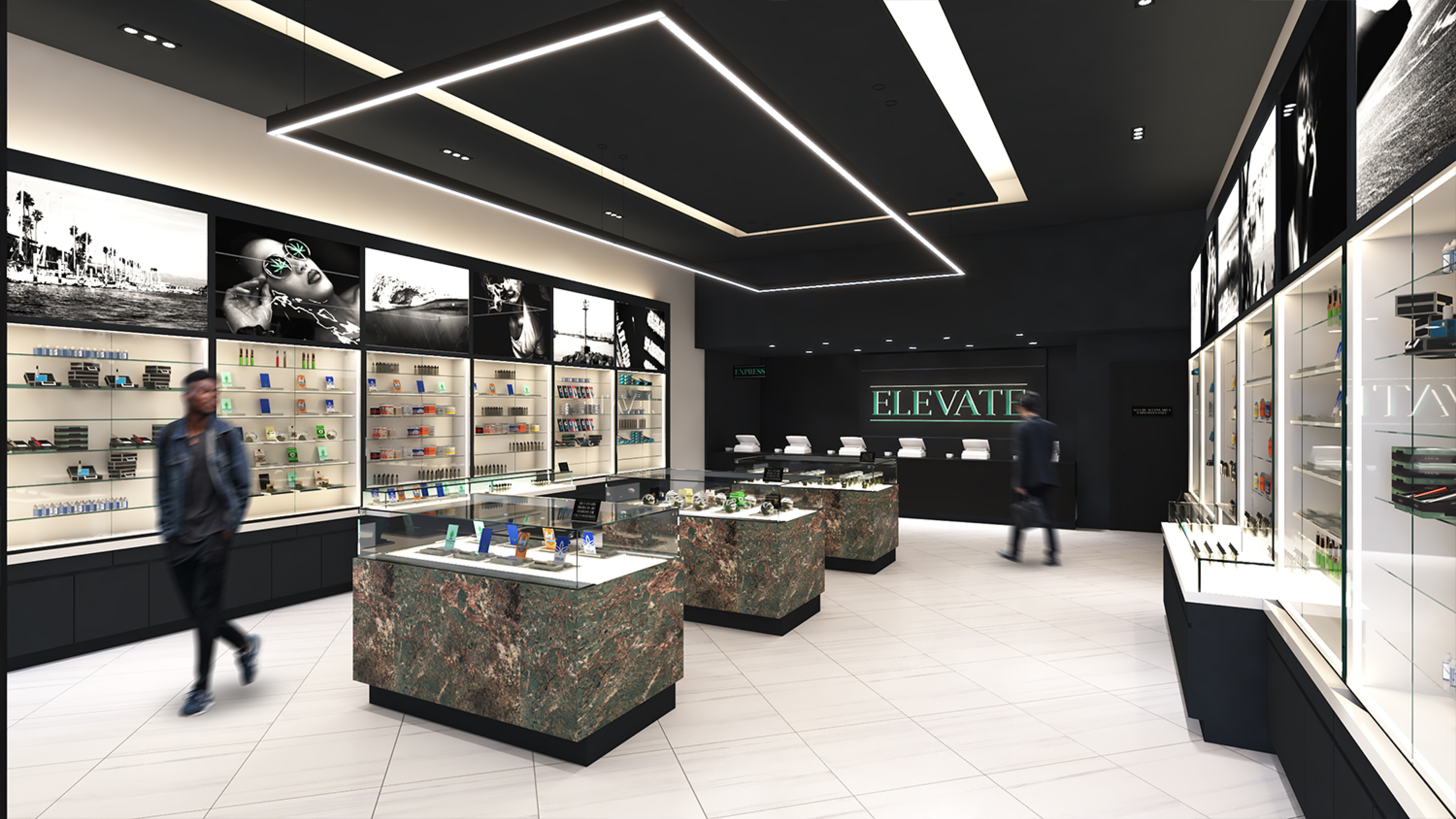 Elevate Dispensary in Oxnard CA. Retail Design by High Road Studio, coming soon.