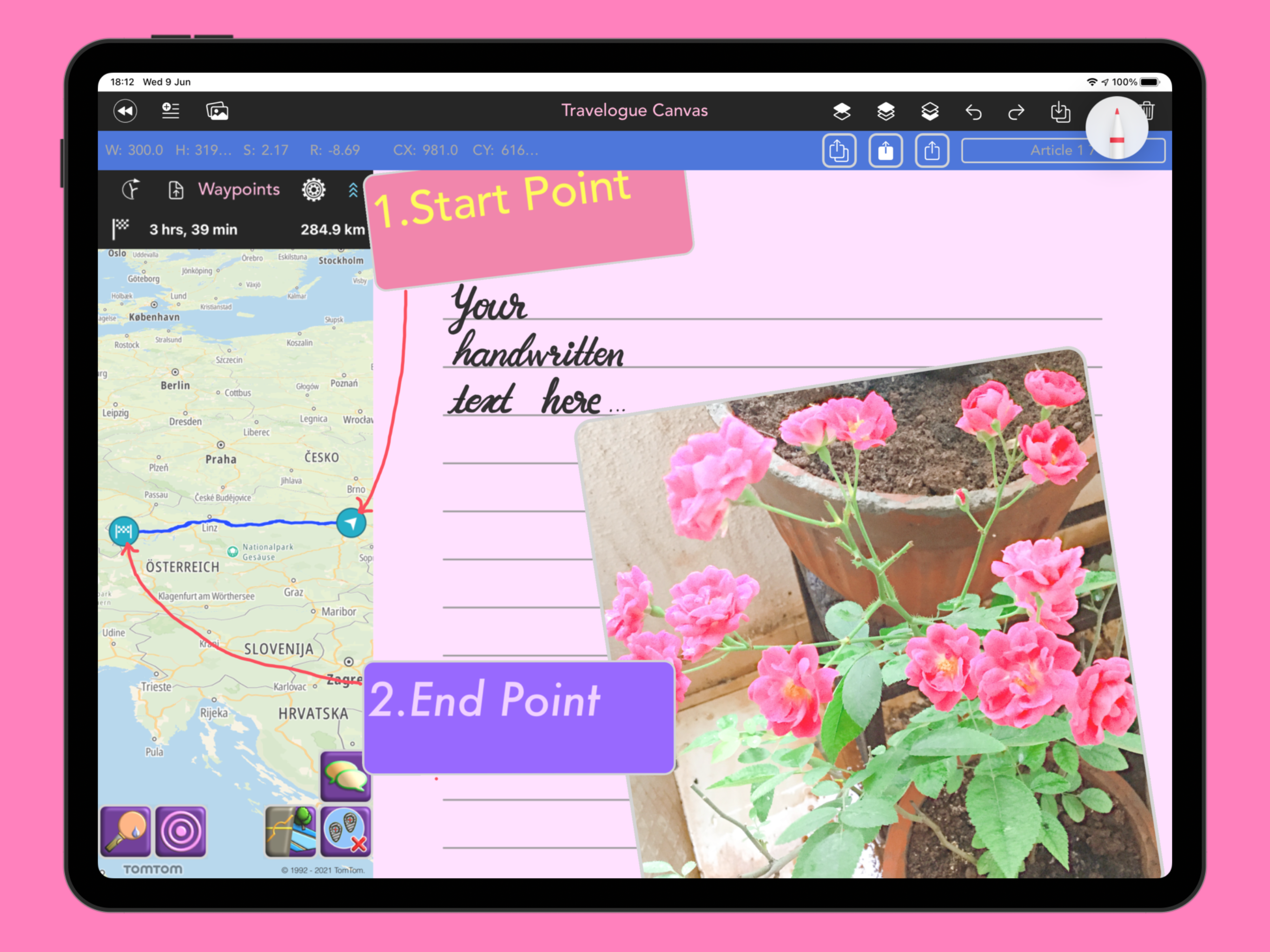 Travelogue canvas showing map, sample handwritten text, and floating image and text panels