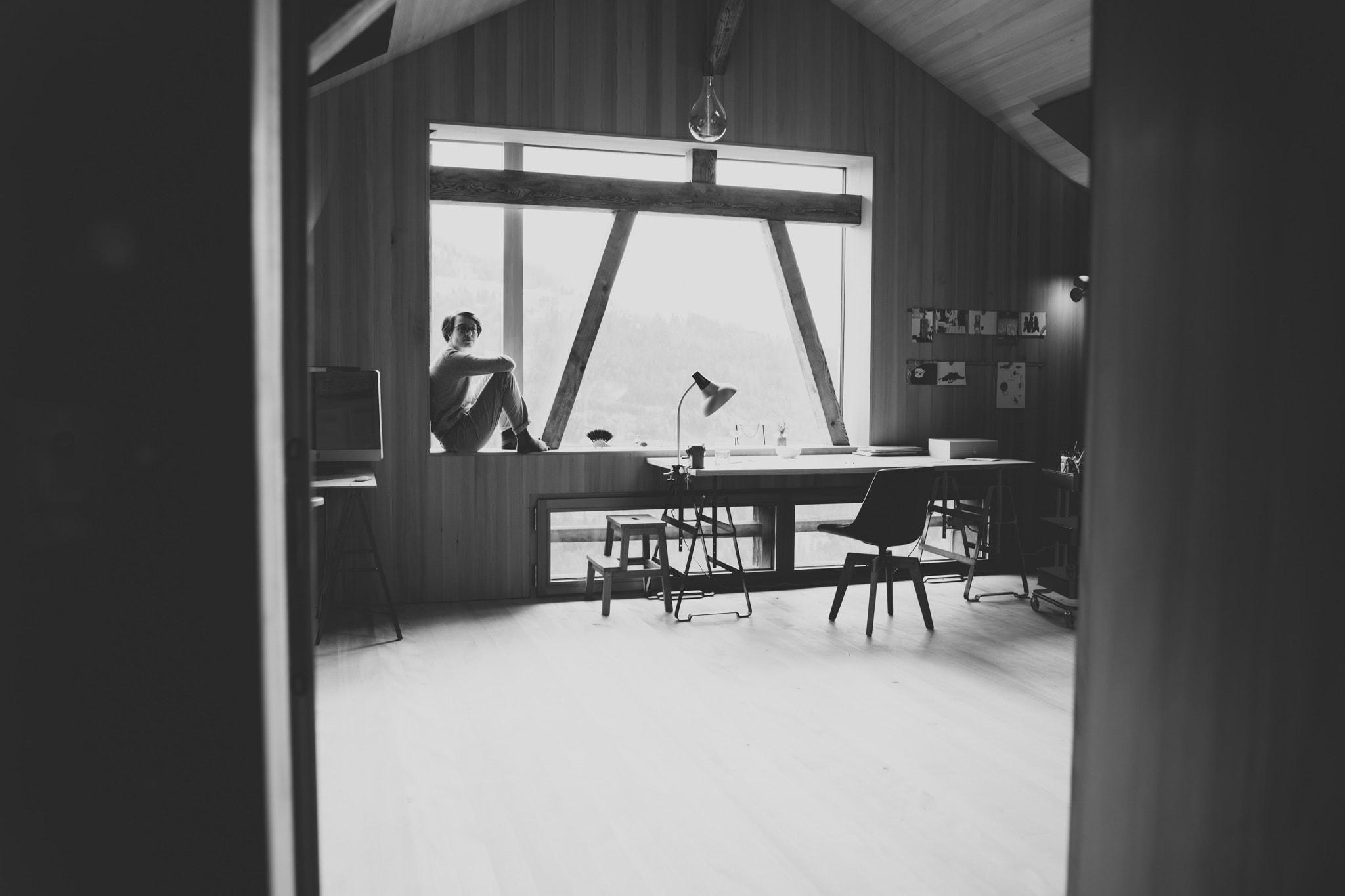 artist studio, vorarlberg, illustrations and drawing, wood, view, mountains, anna stemmer dworak