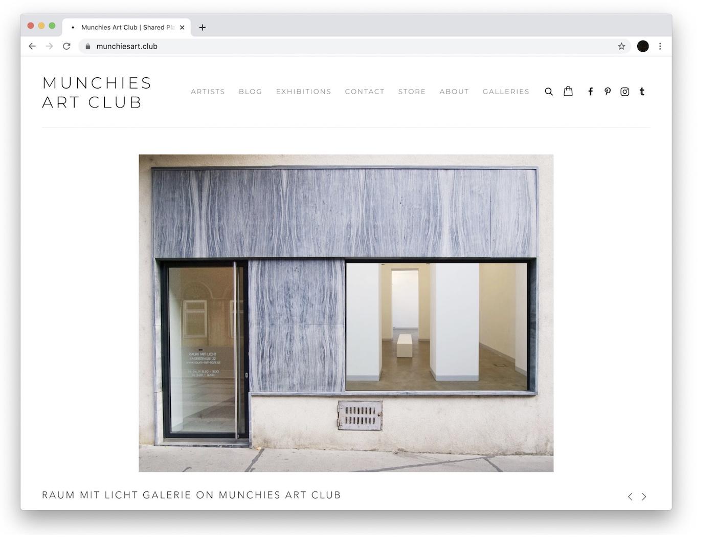 gallery raum mit licht, munchies art club