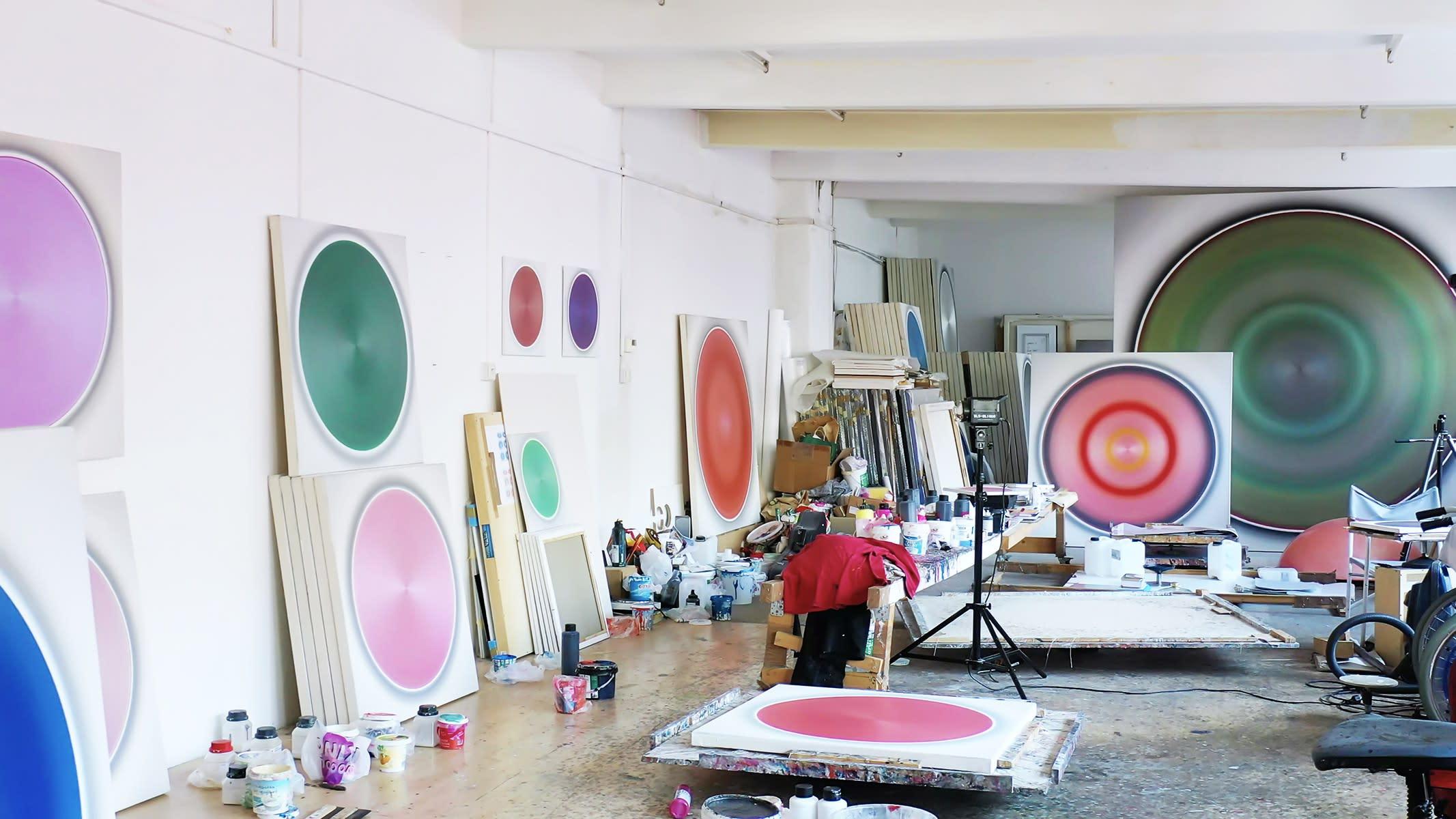 robert schaberl, studio, artist, artworks on wall, munchies art club
