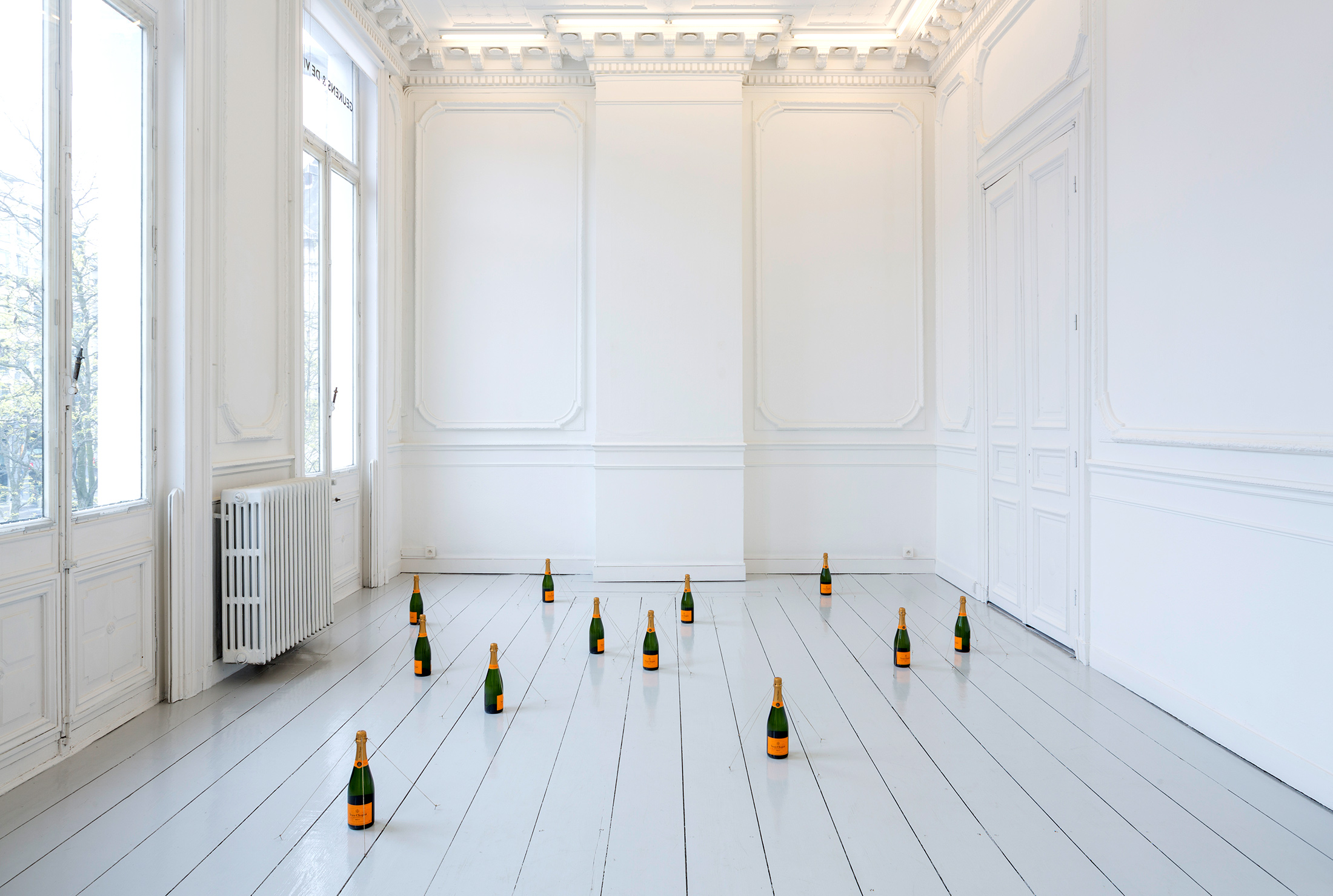 peter de meyer, installation, champagne bottles, contemporary installation, explore art
