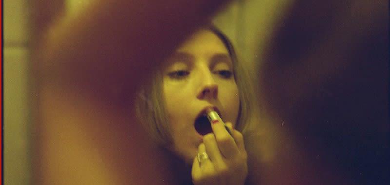 detail of an artwork, lipstick, mirror, photography, paula hummer
