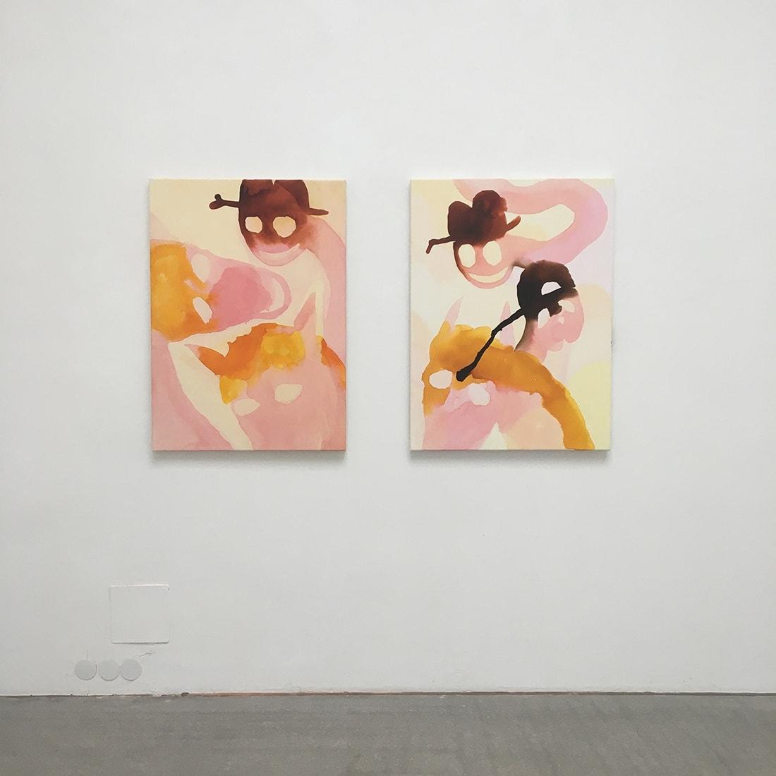 sarah bogner pink smoking horse painting at galerie raum mit licht