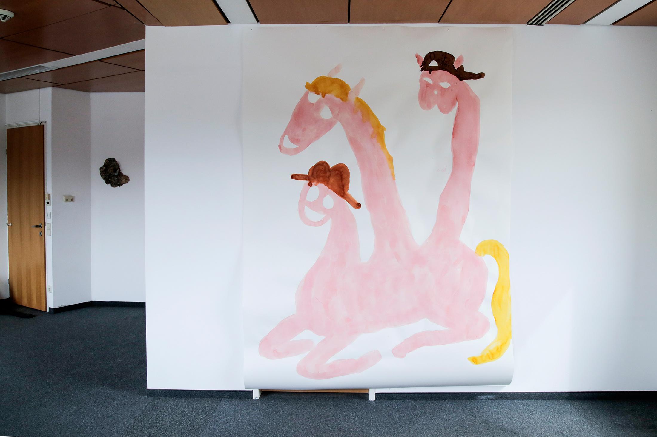 sarah bogner, pink horses, exhibition view, parallel vienna