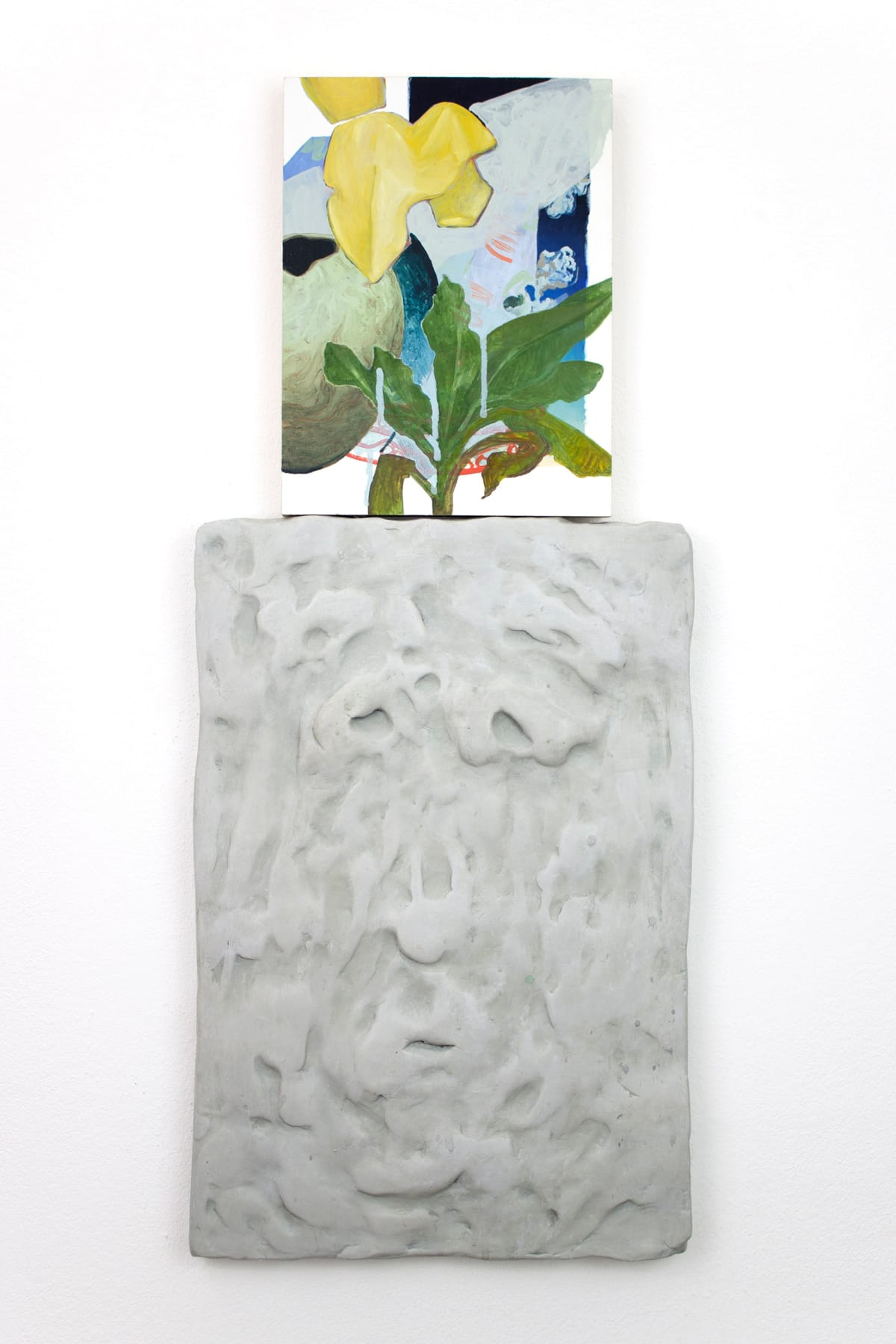 titania seidl, lukas thaler, artist, artwork shows a relief of a face with a caricature facial expression ontop of its head is a painting like a thought bubble showing plants and flowers and shapes