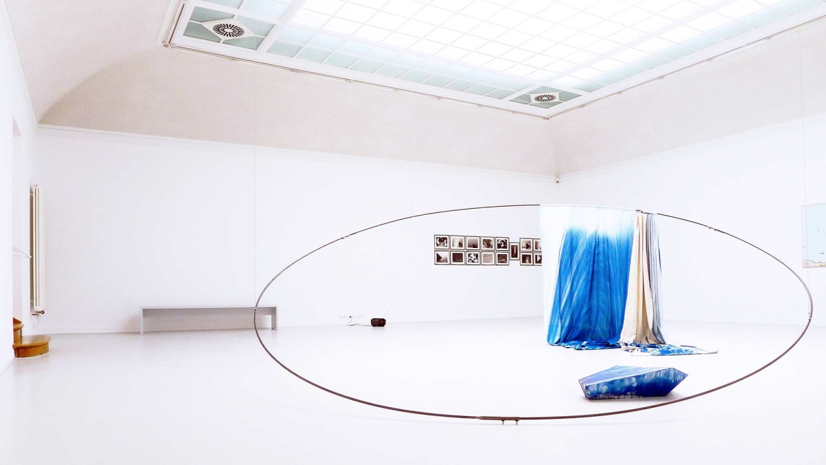 The Kunst Verein Konstanz present the artists Irena Eden & Stijn Lernout the image shows a white room showing artworks from the artists